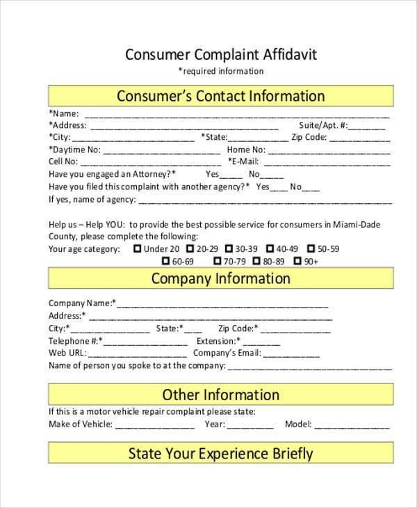 Sample Complaint Affidavit Forms - 7+ Free Documents in Word, PDF