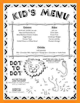 6+ children's menu template | resume setups