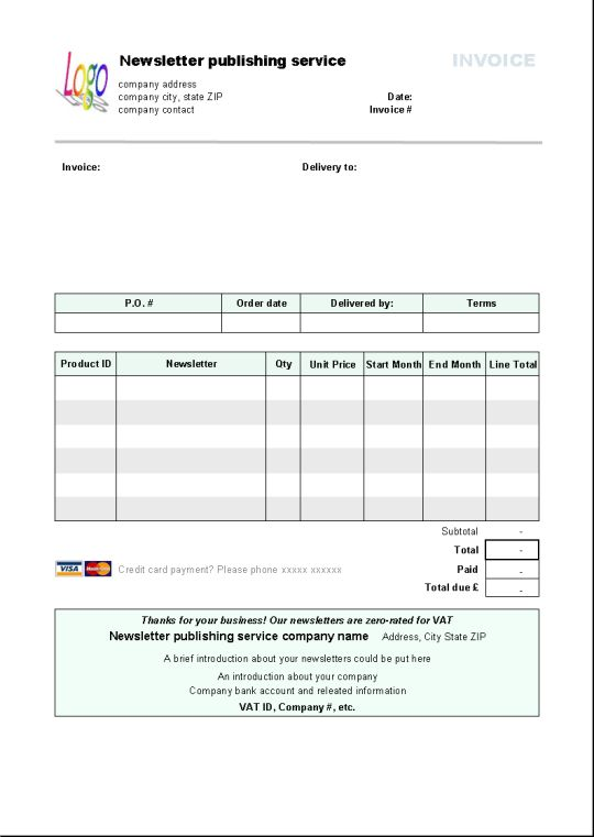 Newsletter Publishing Invoice Template - Free download and ...