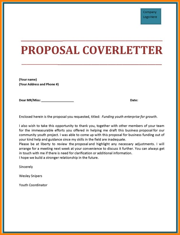 8+ proposal cover letter template | Proposal Template 2017