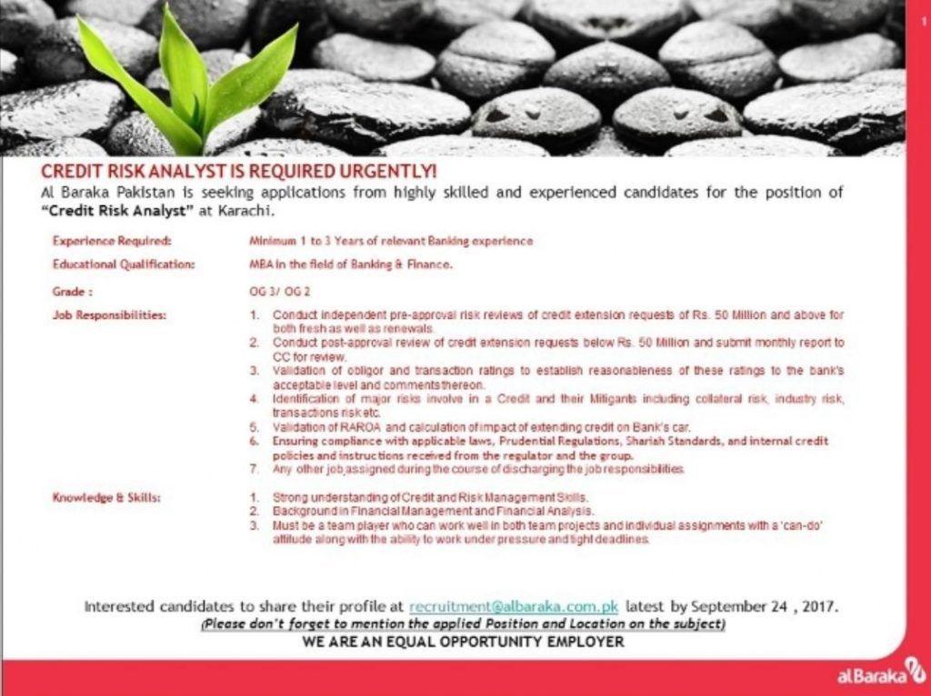 Albaraka Bank Pakistan Jobs Credit Risk Analyst - Achieve.pk