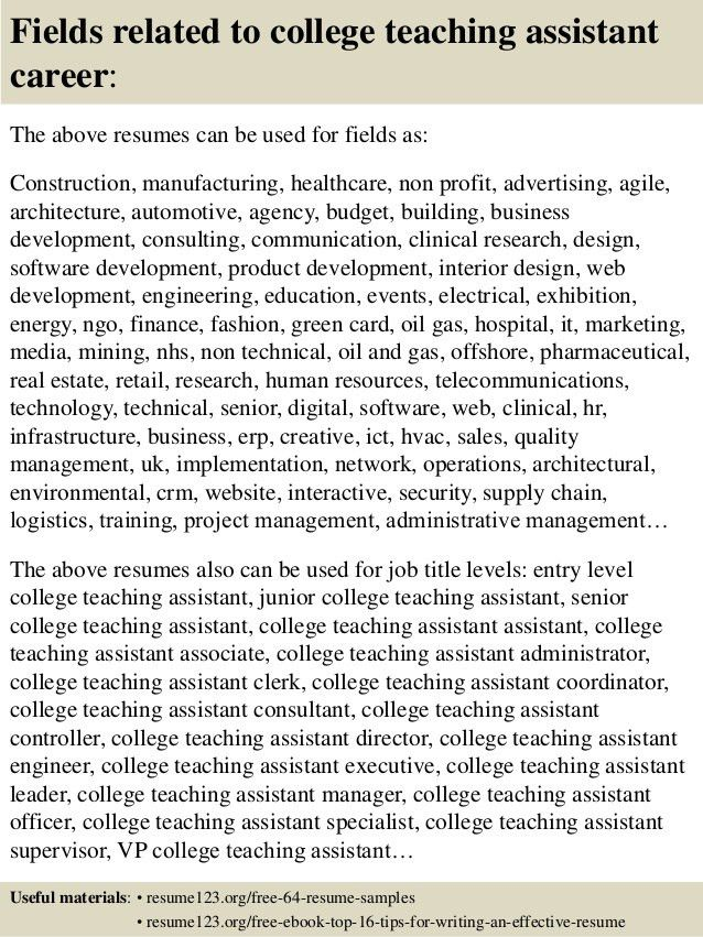 Top 8 college teaching assistant resume samples