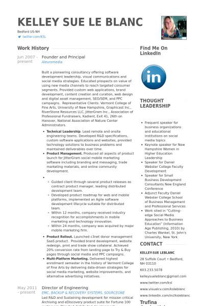 Founder And Principal Resume samples - VisualCV resume samples ...