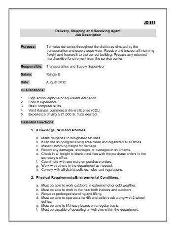 9. shipping receiving and traffic clerk job description. job types ...