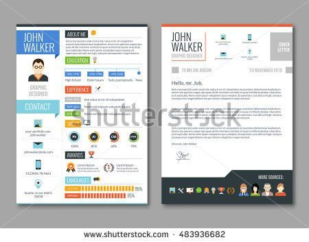 Two Pages Job Candidate Cv Template Stock Vector 370873814 ...
