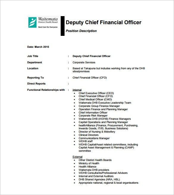 CFO Job Description Template – 10+ Free Word, PDF Format Download ...