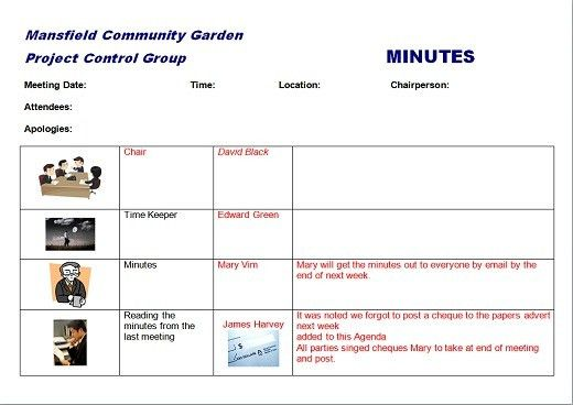 Agenda and minutes template example