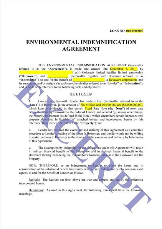 Environmental Indemnity: REALCREFORMS