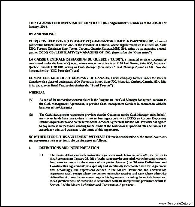Investment Contract Template. Partnership Agreement 1 | Real ...