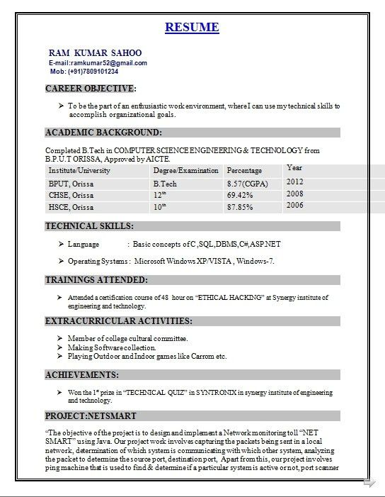 Resume Format For Engineering Students Freshers - Best Resume ...