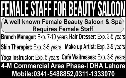 Beauty Parlor Jobs in Lahore 2015 May Beauticians, Branch Manager ...