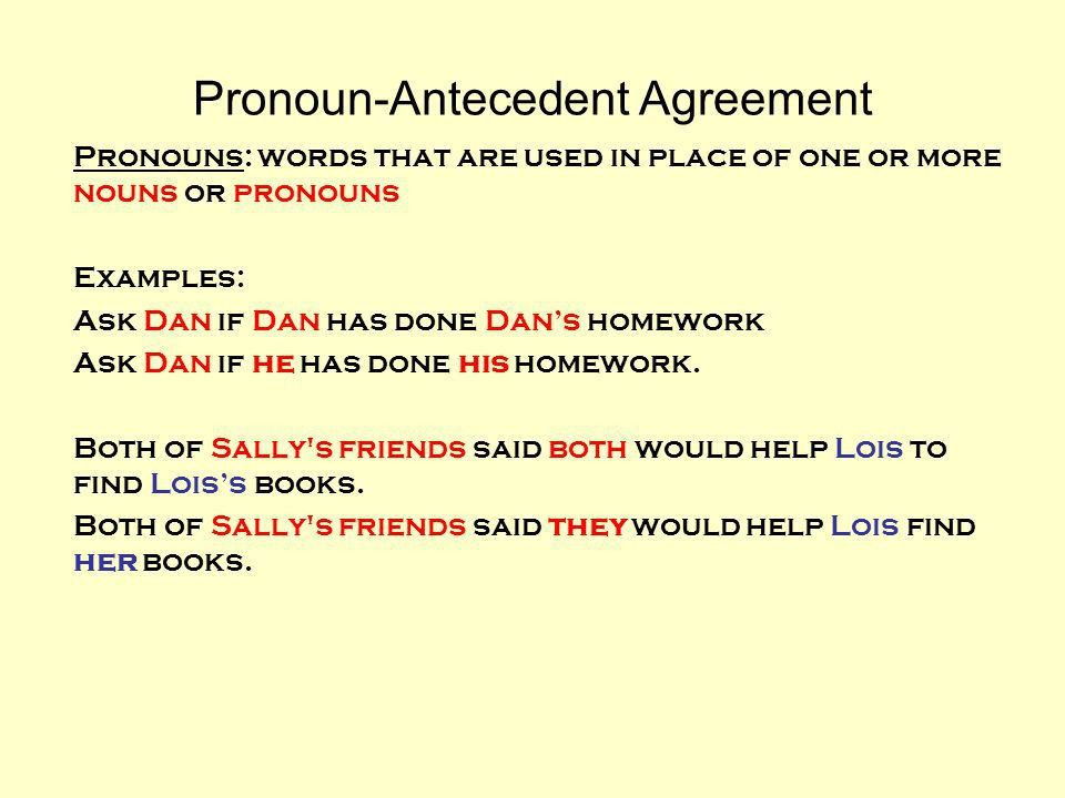 Pronoun-Antecedent Agreement - ppt video online download