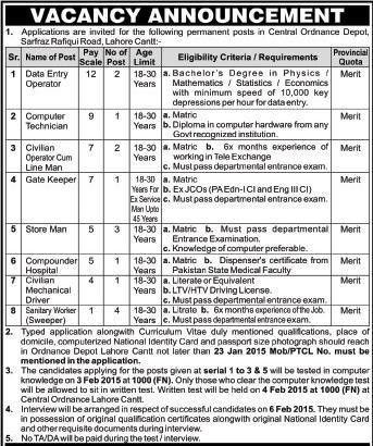 Computer Technician Job, Central Ordnance Depot Lahore Cantt Job ...