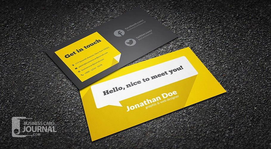 Flat Design Business Card Template With Long Shadow
