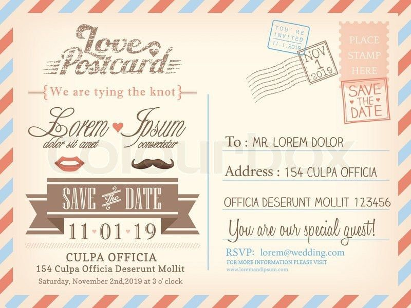 Postcard Wedding Invitations Template Free #9168