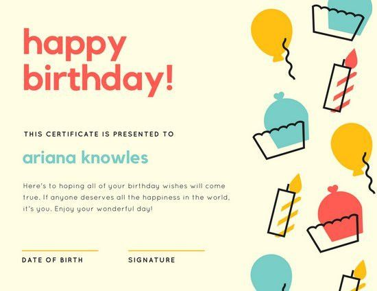 Beige Colorful Icons Birthday Certificate - Templates by Canva