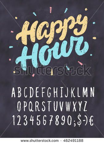 Happy Hour Chalkboard Sign Template Stock Vector 462491188 ...