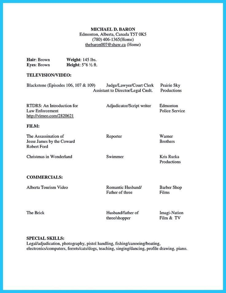 Acting Resume Example. Opulent Ideas Acting Resume Examples 10 10 ...