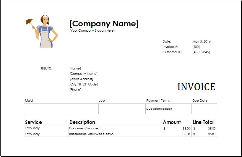 Cleaning Services Invoice | EXCEL INVOICE TEMPLATES