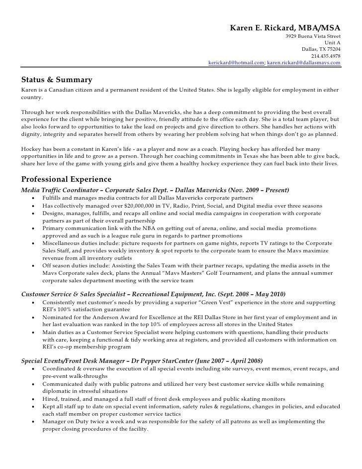 Karen Rickard Resume