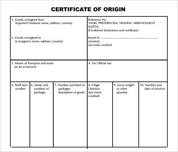 Sample Certificate of Origin Template - 14+ Free Documents in PDF ...