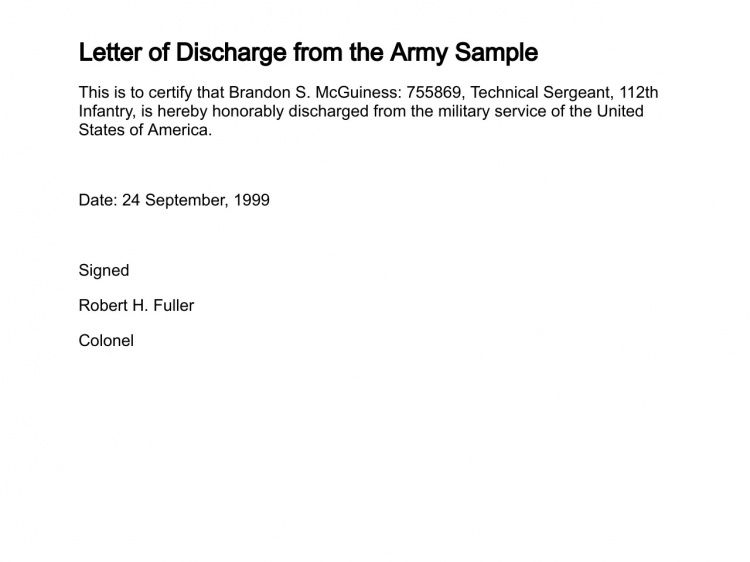 Letter of Discharge