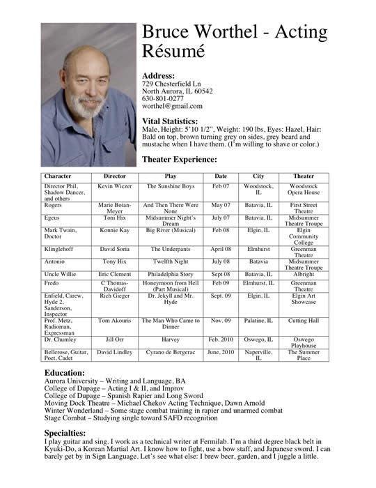 actor resume headshot