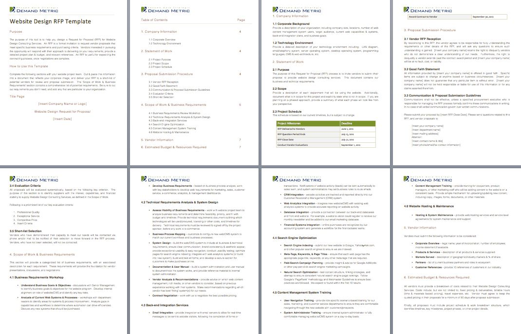 Website Design RFP Template - A template to create an request for ...