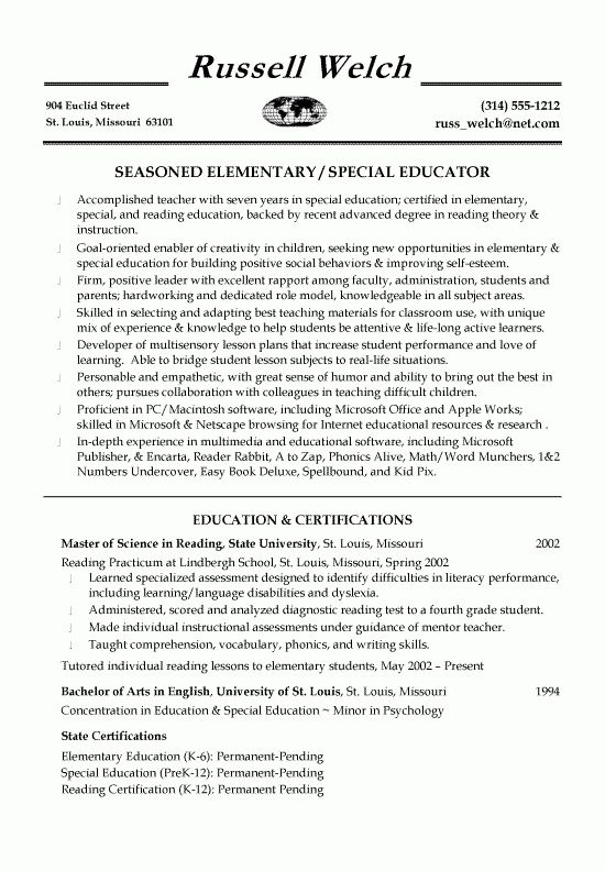 Education Teaching Resume Example