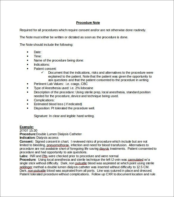 procedure note template