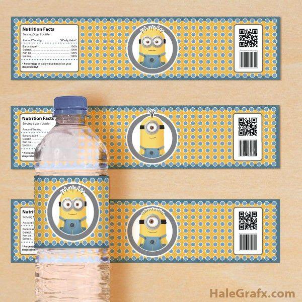 Printable Despicable Me Minions Water Bottle Labels