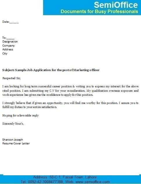sample covering letter for job application by email