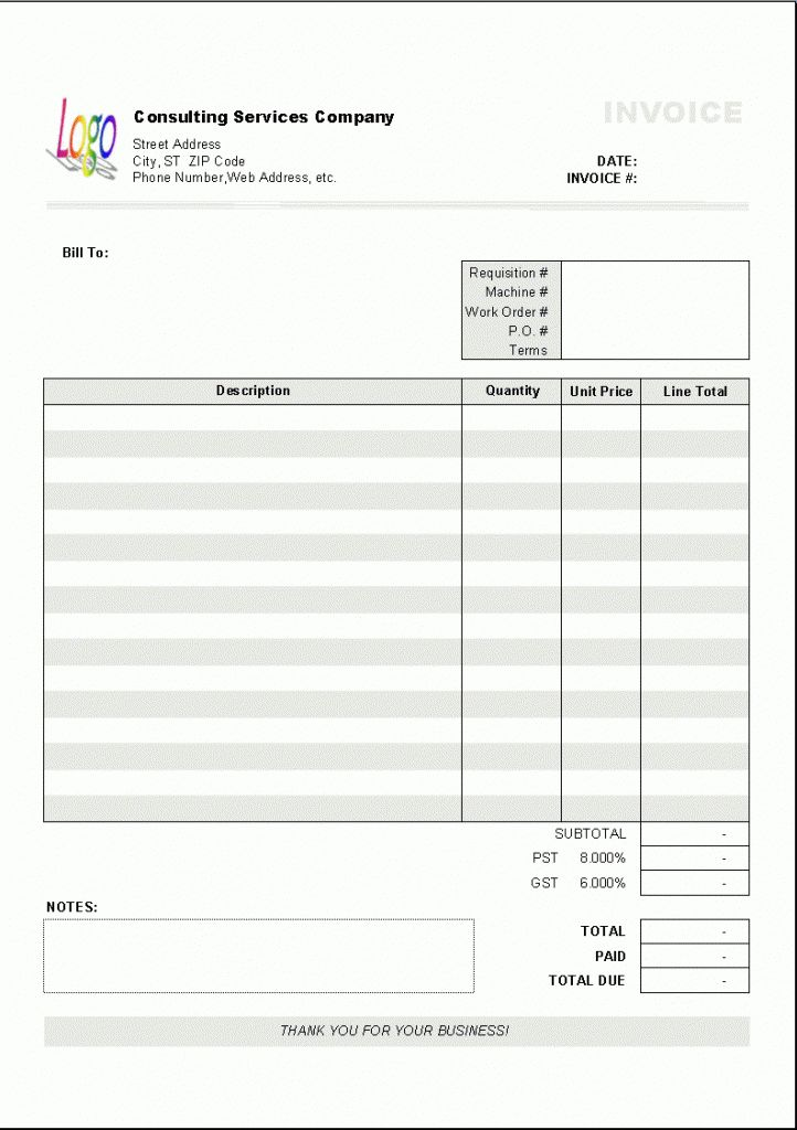 Blank Invoice Templates | Print Paper Templates