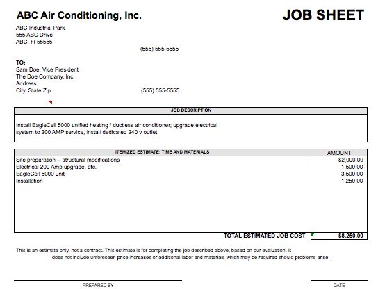 Job Sheet Template | Microsoft Excel Templates