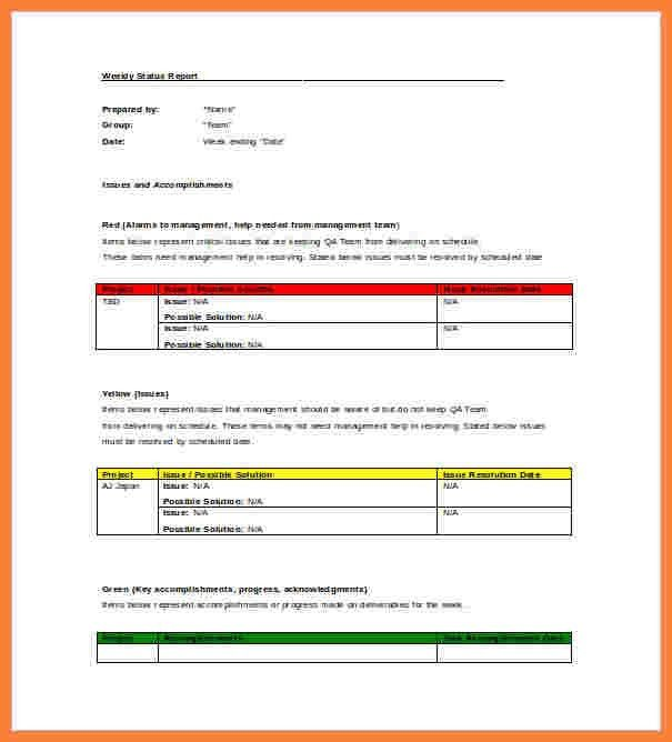 Monthly Status Report Template Word | Enwurf.csat.co