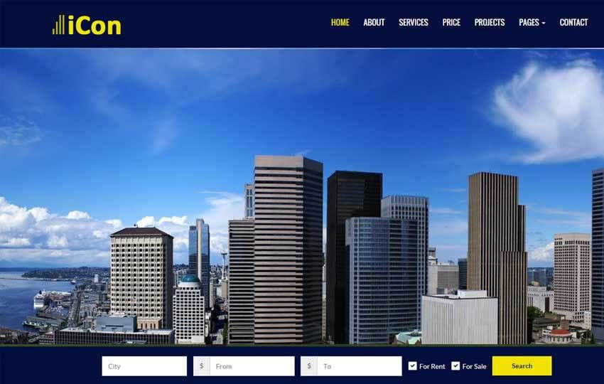 Icon Real Estate Free Responsive HTML Template
