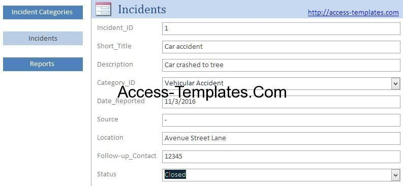 Access Templates Incident Management System and Report Database ...
