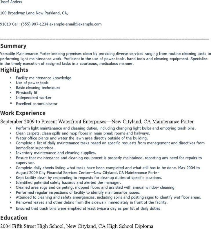 porter resume sample professional maintenance porter templates to
