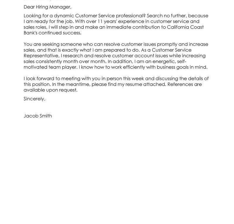 Strikingly Ideas Customer Service Representative Cover Letter 6 ...