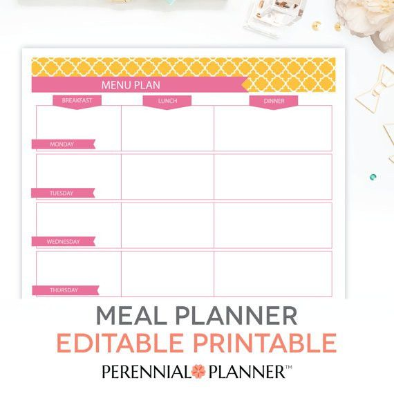 Menu Plan Weekly Meal Planning Template Printable EDITABLE