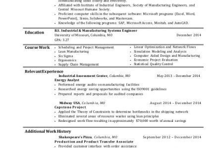 Industrial Engineer Resume Skills - Reentrycorps
