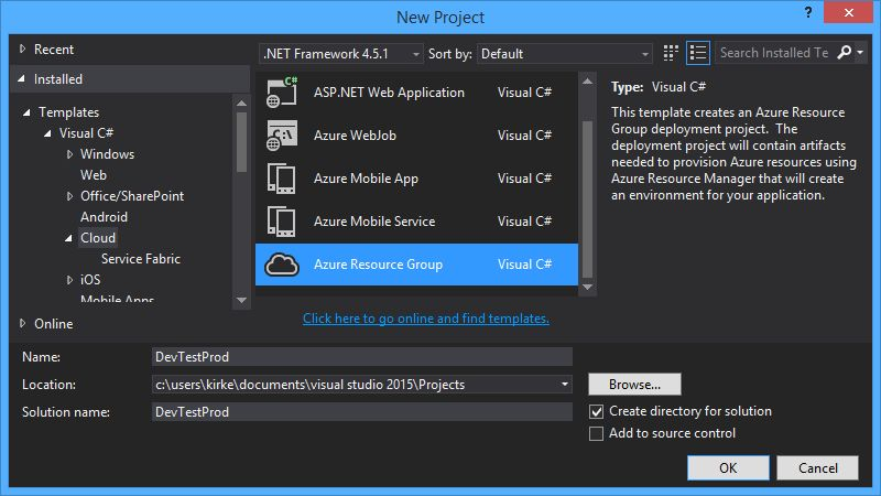 Azure Resource Manager Templates with Visual Studio 2015 | Kirk ...