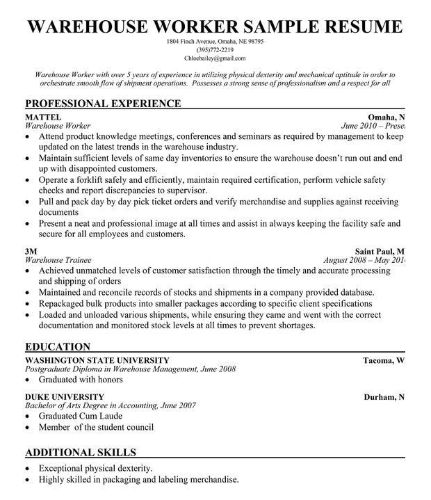 maintenance worker sample warehouse resume template. warehouse ...