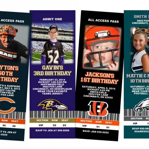 Football Custom Birthday Party Ticket Invitation Your Team ...