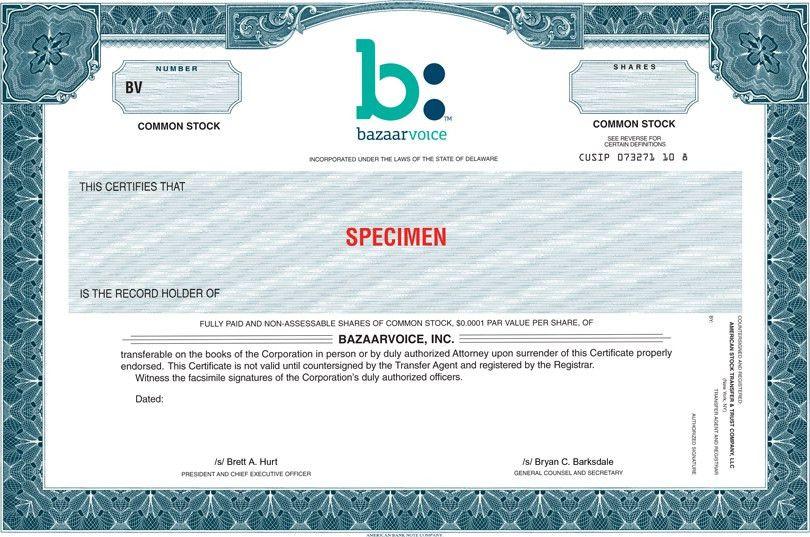 Bazaarvoice Inc - FORM S-1/A - EX-4.1 - SPECIMEN COMMON STOCK ...