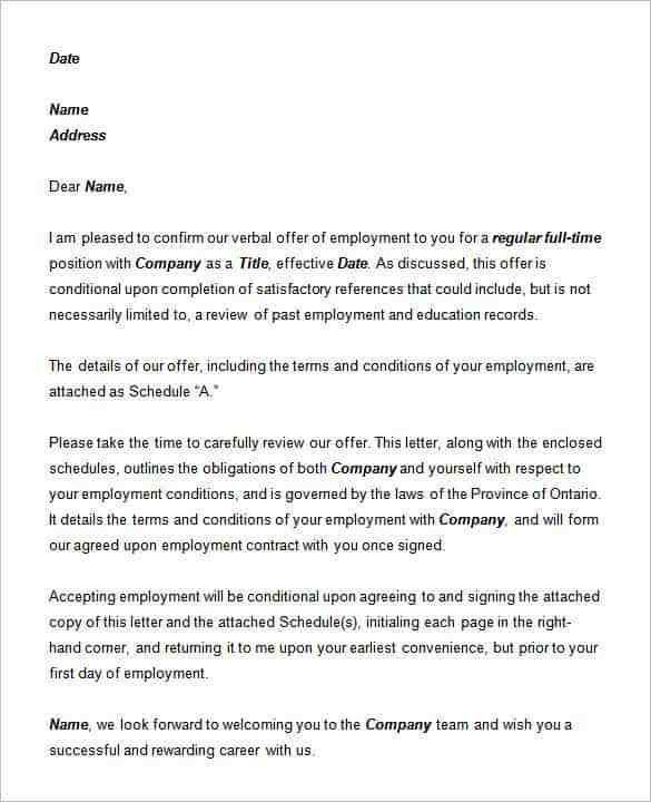 Offer Letter Template - 50+ Free Word, PDF Format | Free & Premium ...