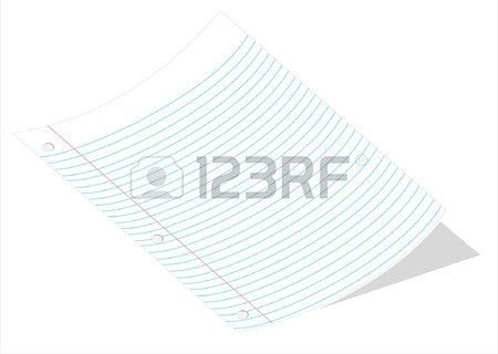 A Vector Illustration Of A Curved Piece Of Loose Leaf Paper ...
