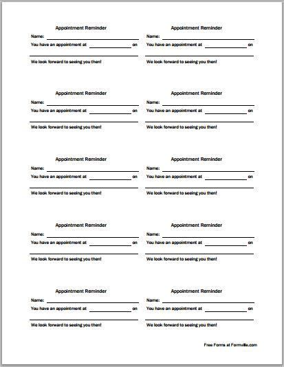 Patient Appointment Cards Template | Printable Medical Forms ...