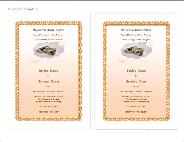 MS Word Wedding Invitation Card Templates | Word Document Templates