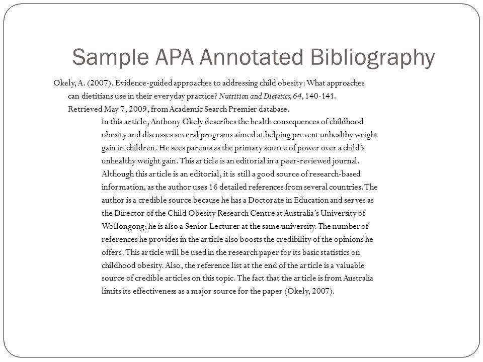 The Wonderful World of Annotated Bibliographies: - ppt video ...